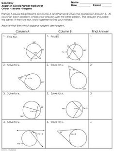 Properties of Circles Maze ~ Arcs, Tangents, Secants, & Inscribed ...