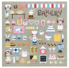 Cruz moderna coser patrones y kits panadería de tío por sewsewnsew
