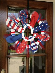 Flip Flop Wreath Red, White, and Blue Patriotic 4th of July on Etsy, $40.00