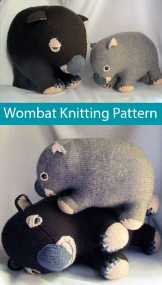 "Knitting Pattern for Wombat Toy to support Animals Australia  -An Australian wombat to knit and cuddle. Use 8ply/DK to make the larger wombat (14"" long) or 4ply/fingering to make the small wombat (10"" long). The pattern has detailed instructions for assembling the pieces, which are made flat on two needles. For every pattern sold till the end of June 2020, AU$5 will be donated to ""AnimalsAustralia"" who support charities caring for injured and displaced animals. Designed by RianAnderson"