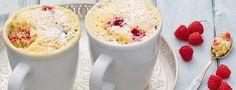 Cake in mok GEBAK – 5 MINUTEN   2 MIN MAGNETRON – 2 STUKS *   Makkelijk en snel; binnen 10 minuten een luchtige cake met frambozen uit de magnetron  Recept bij reactie's