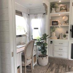 Rv Living, Tiny Living, Motorhome, Vinyl Panels, Rv Interior, Desk Areas, Camper Makeover, Camper Renovation, Remodeled Campers