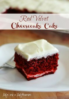 Red Velvet Cheesecake Cake [Using a Red Velvet Cake Mix] Velvet Cake, Red Velvet Cheesecake Cake, Pumpkin Cheesecake, Köstliche Desserts, Delicious Desserts, Yummy Food, Italian Desserts, Yummy Treats, Sweet Treats