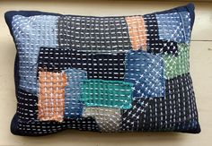 Slow sashiko stitched cushions. Using a mix of recycled denim and organic cottons. I loved creating these. here's some behind the scenes pictures of how I made them…     …