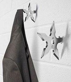 ninja throwing star coat hooks, very cool!