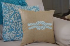 Beach Decor Natural Linen Pillow with Embroidered Knot - Beach Decor.