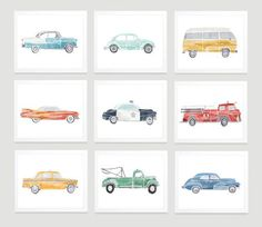 ETSY Shop- LongandFound These vintage automobile prints are perfect for a childs room, nursery, or playroom.   Digital Files Only, INSTANT DOWNLOAD Nursery Art, Boys Toddler Kids Room Decor