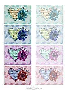 VINTAGE HEART-SHAPED SHEET MUSIC STICKER COLLECTION
