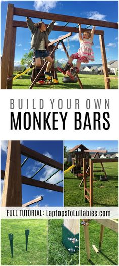 DIY monkey bars {Heather's Handmade Life} - All For Garden Backyard Jungle Gym, Backyard Swings, Backyard For Kids, Diy Monkey Bars, Kids Outdoor Playground, Playground Bar, Diy Swing, Swing Sets Diy, Build A Swing Set