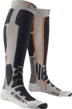 """X-Bionic, """"Ski Radiactor Long"""" -- Even on hard surfaces, the Anatomically-shaped Footbed designed for the right and the left foot with the integrated AirConditioning Channel® protects and supports the foot. The areas of the feet subjected to particular stress an strain, such as the heel and the ball of the foot, are individually supported and cushioned where they need it most. Your feet gain optimal grip and stability without losing contact with the shoe due to unnecessary padding."""