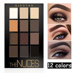 Nova Cor Nude Da Marca Da Paleta Da Sombra Brilho Fosco Sombra de Olho Maquiagem Dos Olhos À Prova D' Água 12 Cores