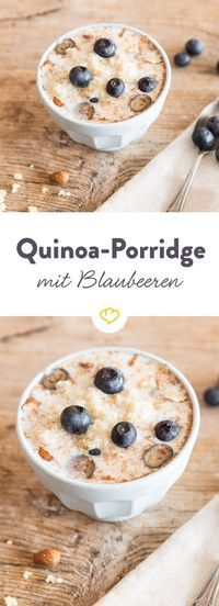 Quinoa porridge with blueberries- Quinoa-Porridge mit Blaubeeren This protein bomb wakes up tired morning people. Blueberries and honey give the superfood a pleasant sweetness and almonds provide a certain crunch. Healthy Dessert Recipes, Healthy Breakfast Recipes, Brunch Recipes, Paleo Recipes, Flour Recipes, Desserts, Paleo Dessert, Egg Recipes, Pizza Recipes