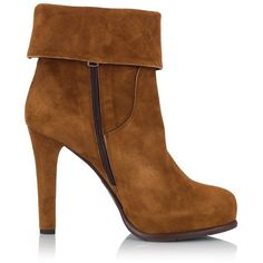 Fratelli Karida - Camel suede leather tasseled folded-cuff high heel... ($200) ❤ liked on Polyvore featuring shoes, boots, ankle booties, high heel bootie, bootie boots, cuffed ankle boots, suede booties and short suede boots