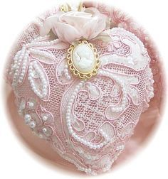 Lace covered ornament. My mom would have loved making a few of these.