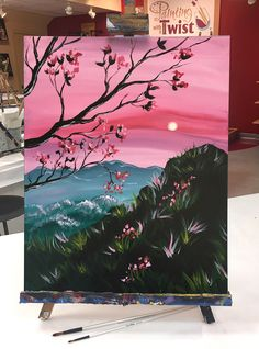 "*NEW ART!* We are in love with the colors of ""Tranquil Spring Morning!"" Find this event: https://www.paintingwithatwist.com/paintings/tranquil-spring-morning-12378"
