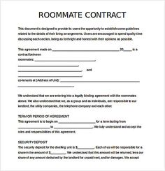 Roommate Agreement Template   Apartment Marketing