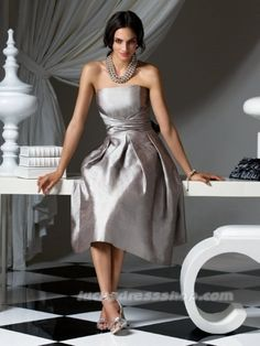 Silver A-Line/Princess Strapless Taffeta Bridesmaid Dress With Zipper Up (MW5669)-LuckyDressShop.com