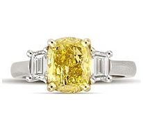 2.75 ct. t.w. Cushion-Cut Yellow Diamond Ring (Vivid Yellow, SI1) Repin by Joanna MaGrath on Pinterest Rings
