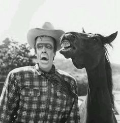The Munsters and grandpa as a horse. Munsters Tv Show, The Munsters, La Familia Munster, Los Addams, Munster Family, 1313 Mockingbird Lane, Herman Munster, Yvonne De Carlo, Old Shows