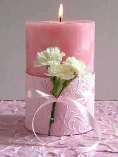 20 Candle Holder Ideas for Thanks Giving Day - Pretty Designs Carnation Centerpieces, Candle Centerpieces, Candle Lanterns, Floral Centerpieces, Pillar Candles, Flower Arrangements, Candle Decorations, Carnations, Bougie Candle