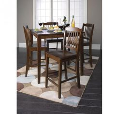 A7524 Donnie Walnut Finish Counter Height Table + 4 Chairs
