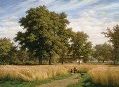 """""""Die Schellenmatt im Sommer"""" (1885) von Robert Zünd (geboren am 3. Mai 1827 in Luzern, gestorben am 15. Januar 1909 in Luzern), schweizerischer Maler."""