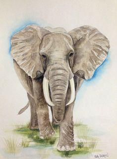 """African Elephant, Elephant watercolor painting, Elephant art, Nursery art, Wall Art, 9""""x 12"""" on Etsy, $55.00"""
