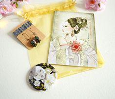 Cadeau Noël femme : Boucles d'oreille, miroir de poche et carte postale geisha tons or et noir. : Autres accessoires par mes-tites-lilis