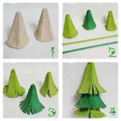 DIY: a deco table snowy fir - The little decorations of Lolo - - Recycled Christmas Tree, Christmas Crafts For Kids, Xmas Crafts, Kids Christmas, Christmas Ornaments, Egg Box Craft, Paper Christmas Decorations, Egg Carton Crafts, Sand Crafts