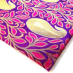 Floral Paisley Pattern Brocade Silk Fabric in Purple, Gold and Copper - Half Yard Silk Fabric