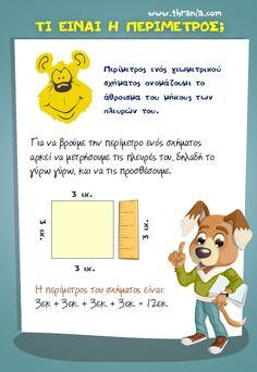 Μαθηματικά - Διάφορα: ''Τι είναι η περίμετρος;'' Dyscalculia, Kids Corner, Primary School, Speech Therapy, Maths, Mathematics, Worksheets, Classroom, Teacher