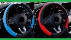 Car Steering Wheel Covers 37-38cm Universal PU Leather Steering-wheel Co...