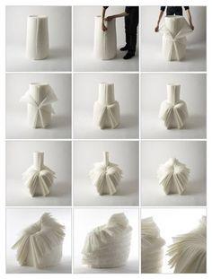 The Cabbage Chair by Okin Sato. Reutiliza papeis plissados descartados pela imdustria! #decorin #designsustentavel