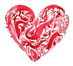 Red animals heart giclee print by Marpez on Etsy, $20.00