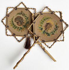 Antique French Needlework Face Screens, Blackamoor Figural and Bamboo, Napoleon III Era, Victorian