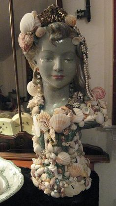 Mermaid bust encrusted with shells, & vintage jewelry SOLD