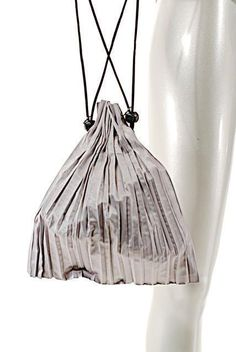e5db9fb42a6d Pleats Please ISSEY MIYAKE Silver Gray Polyester Drawstring Bag - NWOT -  7