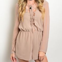"""""""Sweet Embrace"""" taupe colored long sleeve romper ️️This romper is chic and playful. Sexy open back. Long sleeves and tie at chest. Stunning neutral taupe makes this effortlessly classic and fashionable.    Made in the USA                                                     ️Brand New.                                                                     ️Sizes Small, Medium, Large. Pink Shrimp Boutique Pants Jumpsuits & Rompers"""