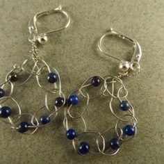 Crocheted wire earrings, Lapis Lazuli Earrings, Silver Earrings, OOAK by JosiannesJewelry for $12.00