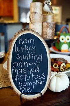 Wood Plank Chalkboard - I LUV this idea for the monthly luncheons I host!