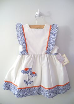1960's White Blue and Red Daisy Pinafore by BabyTweeds on Etsy