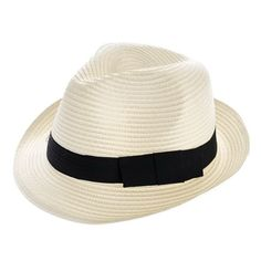 73a7ca7d4773 creamy-white Unisex Fedora Trilby Gangster Cap Summer Beach Sun Straw  Panama Hat Mens Womens