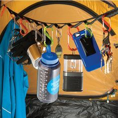 This gear line will organize all your essentials in the tent at night.