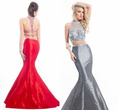 2015 Sexy Beads White Two Piece Prom Dresses Long Mermaid Abendkleider 2 Piece Formal Party Evening Gowns