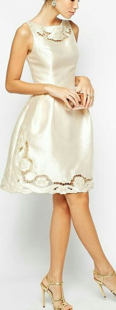 embroidered cutwork dress for prom Pretty White Dresses, Lovely Dresses, Elegant Dresses, Beautiful Outfits, Gorgeous Dress, White Skirts, Short Dresses, Prom Dresses, Formal Dresses