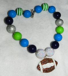 Football Chunky Bubblegum Bead Necklace by ParadiseJewelryofCP