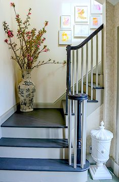 Spring branches on the stairs | One Kings Lane CT house