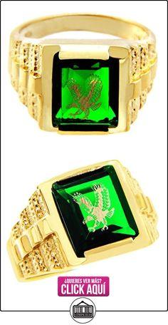 Pequeños Tesoros - Anillos Hombres Alianza De Boda 10 Kt Oro 471/1000 Oro - Verde Piedra Con Oro Águila  ✿ Joyas para hombres especiales - lujo ✿ ▬► Ver oferta: http://comprar.io/goto/B0127VNAGK