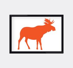 Modern Genes Art.  Orange Moose Silhoette 8X10 Modern Wall Art Home by moderngenes, $15.00