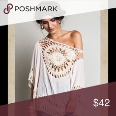 Oversized top This cream oversized top has crochet detail with the back mirroring the front design.  It is made of 60% cotton 40% polyester. Kori America Tops